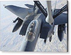 A Kc-135 Stratotanker Refuels An F-15e Acrylic Print by Stocktrek Images