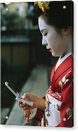 A Kimono-clad Geisha Dials Her Cell Acrylic Print by Justin Guariglia