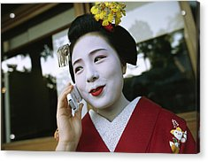 A Kimono-clad Geisha Talks On A Cell Acrylic Print by Justin Guariglia