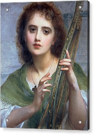 A Lady With Lyre Acrylic Print by Charles Edward Halle