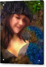 A Lass With Her Parrot Acrylic Print by Jill Balsam