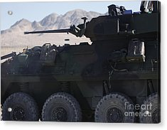 A Light Armored Vehicle Fires Its 25mm Acrylic Print