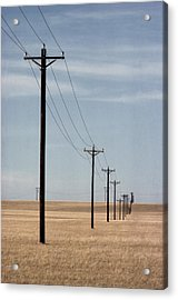 A Line Of Telephone Poles Travels Acrylic Print by George Grall