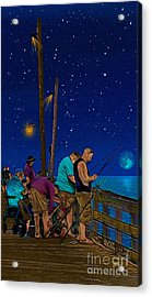 A Little Night Fishing At The Rodanthe Pier Acrylic Print by Anne Kitzman
