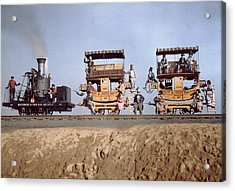 A Locomotive And Two Coaches Acrylic Print by Charles Martin