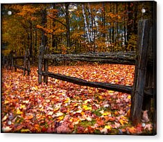 A Log Fence In A Carpet Of Fall Leaves Acrylic Print by Chantal PhotoPix