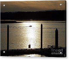 A Lone Boat At Sunset Acrylic Print by Chalet Roome-Rigdon
