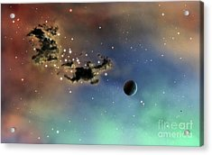 A Lonely Planet Is Lit By Two Stars Acrylic Print by Brian Christensen