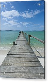 A Long Wooden Jetty At Churchhaven In The West Coast National Park Disappears Into The Turquoise Waters Of The Langebaan Lagoon, Churchhaven, Western Cape, South Africa Acrylic Print by Neil Austen