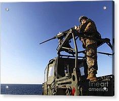 A Machine Gunner Mounts A M-2 Acrylic Print by Stocktrek Images