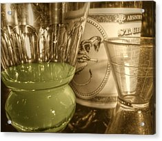 A Macro Sepia And Green Of Absinthe Acrylic Print by Jennifer Holcombe