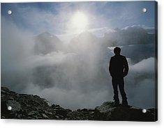 A Man In Silhouette Looking Acrylic Print by Gordon Wiltsie