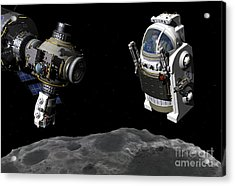 A Manned Maneuvering Vehicle Prepares Acrylic Print by Walter Myers