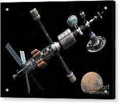 A Manned Mars Cycler Space Station Acrylic Print by Walter Myers