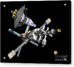 A Manned Mars Landerreturn Vehicle Acrylic Print by Walter Myers