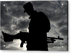 A Marine Attaches An M-240g Medium Acrylic Print