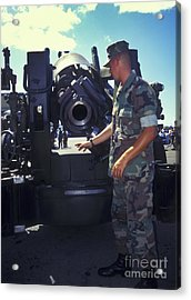 A Marine Instructs How To Pen Acrylic Print by Michael Wood