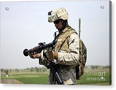 A Marine Looks At A Brand New Acrylic Print by Stocktrek Images