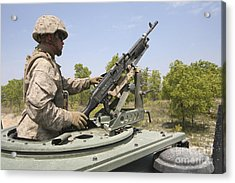 A Marine Prepares To Fire His M240 Acrylic Print