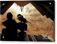 A Marine Waits For Dust To Clear While Acrylic Print by Stocktrek Images
