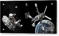 A Mars Cycler Travels By The Earth Acrylic Print by Walter Myers