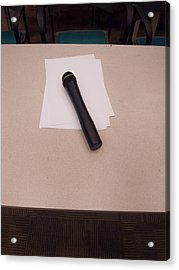 A Microphone On The Lectern Of A Presentation Room Acrylic Print by Ashish Agarwal