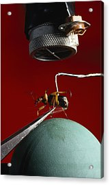 A Microphone Triggers A Flash Acrylic Print by James P. Blair