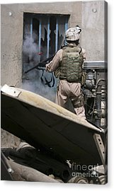 A Military Policeman Uses A Breaching Acrylic Print by Stocktrek Images