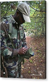A Military Technician Uses A Pda Acrylic Print by Michael Wood