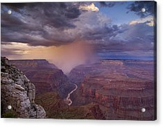 A Monsoon Storm In The Grand Canyon Acrylic Print by David Edwards