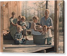 A Mother Bathes Her Children Acrylic Print by J Baylor Roberts