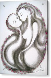 Acrylic Print featuring the drawing A Mother's Gratitude by Marat Essex
