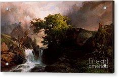 A Mountain Stream Acrylic Print by Thomas Moran