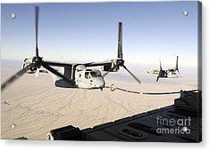 A Mv-22 Osprey Refuels Midflight While Acrylic Print by Stocktrek Images