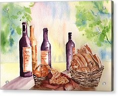 A Nice Bread And Wine Selection Acrylic Print by Sharon Mick