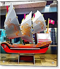 A Nice #paper #replica #boat With Acrylic Print