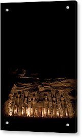 A Nighttime View Of Nefertaris Temple Acrylic Print by Taylor S. Kennedy