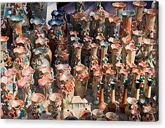 A Number Of Clay Vases And Figurines At The Surajkund Mela Acrylic Print by Ashish Agarwal