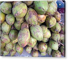 A Number Of Tender Raw Coconuts In A Pile Acrylic Print by Ashish Agarwal