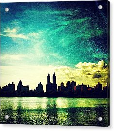 A Paintbrush Sky Over Nyc Acrylic Print by Luke Kingma