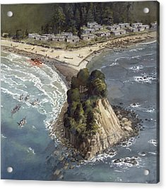 A Painting Depicts A Makah Indian Acrylic Print by Richard Schlecht