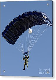 A Paratrooper Descends Through The Sky Acrylic Print by Stocktrek Images