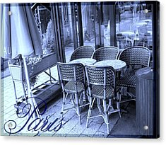 A Parisian Sidewalk Cafe In Blue Acrylic Print by Jennifer Holcombe