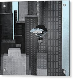 A Person On A Skyscraper Under A Storm Cloud Getting Rained On Acrylic Print by Jutta Kuss
