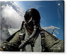 A Pilot In The Cockpit Of An F-16 Acrylic Print by Stocktrek Images