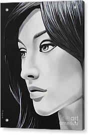 A Portrait In Black And White Acrylic Print by Dan Lockaby