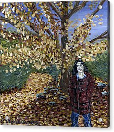 Acrylic Print featuring the painting A Portrait Of The Artist's Mother In Autumn by Denny Morreale