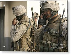 A Radio Operator Helps A Platoon Acrylic Print by Stocktrek Images