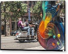 A Rainbow Guitar On Congress In Austin Acrylic Print by Jennifer Holcombe