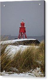 A Red Lighthouse Along The Coast South Acrylic Print by John Short